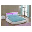 BLESS luxus modern ágy lécezett ráccsal, fehér bőr, 180x200
