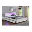 Franciaágy, RGB LED világítással, fehér textilbőr, 160 x 200, CLARETA