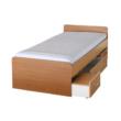 DUET ágy ágyneműtartóval, bükkfa, 90x200 cm