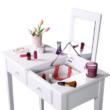 Fésülködőasztal, sminkasztal, fehér, LUZIA