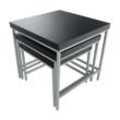3 darabos konzolasztal szett, fém, fekete  tölgy/szürke, ALVAN