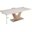 Étkezőasztal, nyitható, MDF+acél, fehér extra HG/tölgy sonoma, DURMAN