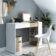 Fésülködőasztal/íróasztal, fehér/tölgy sonoma, ELIS
