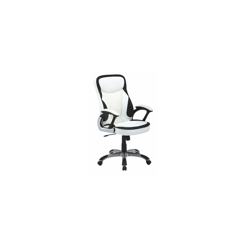 8108ad57fa Irodai szék, fekete-fehér textilbőr PU, AFRA