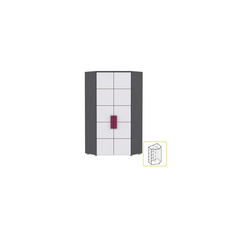 4c5a10c495 Sarokszekrény kombinált, szürke/fehér/ibolyakék, LOBETE 89