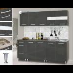 Dorina konyhablokk bútorlap fronttal, 200 cm magasfényű szürke