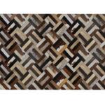 Luxus bőrszőnyeg, barna/fekete/bézs, patchwork, 120x180 , bőr TIP 2