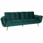 Kinyitható kanapé, smaragd bársony/bükk, KAPRERA