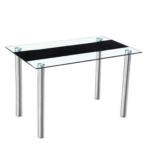 Étkezőasztal, acél + átlátszó/fekete edzett üveg, ESTER
