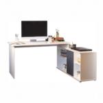 Sarokíróasztal polccal, fehér/grafit, DALTON NEW 02