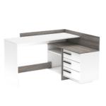 Sarok-számítógépasztal,fehér/prata trufla tölgyfa, TALE NEW 484879