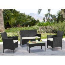 Kerti 4 részes rattanszett + 2 párnázott fotel + 2-es ülőrész + dohányzóasztal, wenge+krém, RATTY
