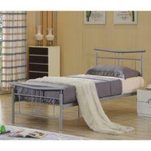 Fém ágy lécezett ráccsal,  ezüst fém 90 x200, DORADO