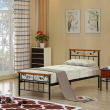 MORENA fém ágy lécezett ráccsal, fém +fa (sötét tölgyfa) , 90x200