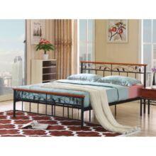 Fém ágy lécezett ráccsal, fém +fa (cseresznyefa) , 160x200, MORENA