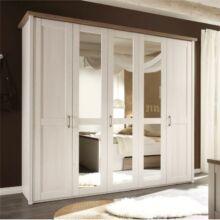 LUMERA 5 ajtós szekrény tükörrel, mandulafenyő fehér/sonoma tölgy trufl