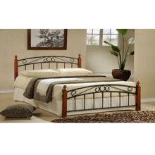 DOLORES fém ágy lécezett ráccsal, fém (fekete) +fa (cseresznye), 160x200