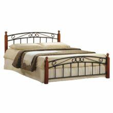 Fém ágy lécezett ráccsal, fém (fekete) +fa (cseresznye), 160x200, DOLORES