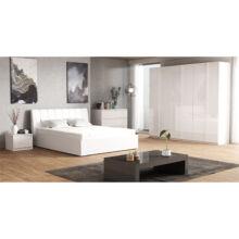 Hálószoba garnitúra, fehér/extra magasfényű HG, ITALIA NEW