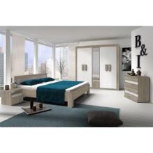 Hálószoba, szekrény+ágy+2 éjjeliszekrény, trufla sonoma tölgyfa + fehér, MEDIOLAN