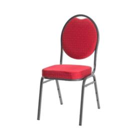 VELENCE bankett szék, szürke vázzal, piros kárpittal