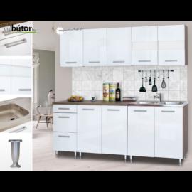 Dorina konyhablokk bútorlap fronttal 200 cm magasfényű fehér