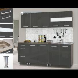 Dorina konyhablokk bútorlap fronttal 200 cm magasfényű szürke