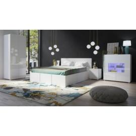 Calabrini NO.19 magasfényű fehér hálószobai szekrénysor
