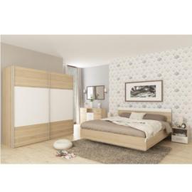 Hálószoba szett(szekrény és ágy 180x200 2 db éjjeliszekrény) sonoma tölgyfa fehér GABRIELA
