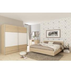 Hálószoba szett (szekrény és ágy 160x200 és 2db éjjeliszekrény) sonoma tölgy fehér GABRIELA