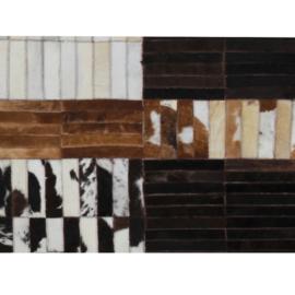 Luxus bőrszőnyeg fekete barna  fehér patchwork 69x140 bőr TIP 4