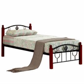Fém ágy lécezett ráccsal fém (fekete)  és fa 90x200 MAGENTA