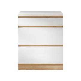 Alsószekrény három fiókkal D60 fehér magas fényű HG LINE BIELA