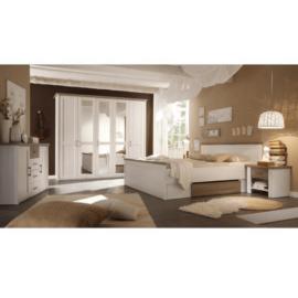 Hálószoba bútor készlet (ágy 2 éjjeliszekrény szekrény) pínia fehér  tölgy sonoma trufla LUMERA