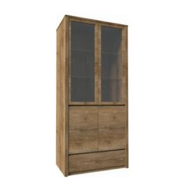 Vitrín szekrény 1- fióko és 2 osztot ajtóval ? teljessen  üvegezett tölgyfa lefkas MONTANA W2D
