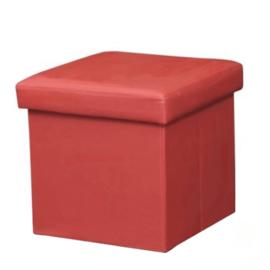 Összehajtható puff műbőr piros TELA NEW