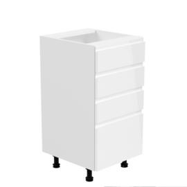 Alsószekrény, fehér/fehér extra magasfényű, AURORA D40S4