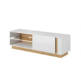 RTV asztal 138, fehér/tölgy grandson/magasfényű fehér, CITY