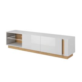RTV asztal 187, fehér/tölgy grandson/magasfényű fehér, CITY