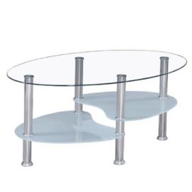 Dohányzóasztal acél átlátszó üveg tejüveg WAVE NEW