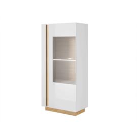 Vitrines szekrény 72, fehér/tölgy grandson/magasfényű fehér, CITY