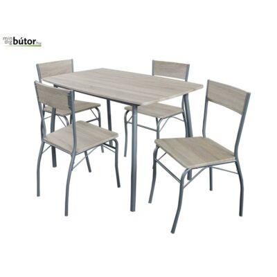 Mia étkezőgarnitúra, fix asztallal, 4db székkel