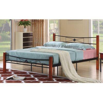 AMARILO fém ágy lécezett ráccsal, fém+fa (cseresznye), 160x200