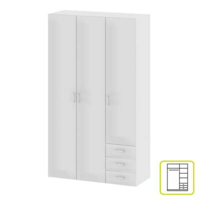 GWEN 70427 3-ajtós szekrény, fehér