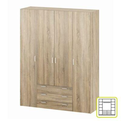 GWEN 4-ajtós szekrény, sonoma tölgyfa