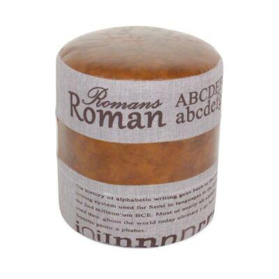 Puff, szürke szövet/sötét barna bőr, ROMAN 1