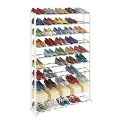 BOTIS 1 10-soros cipőpolc, műanyag+fém, fehér
