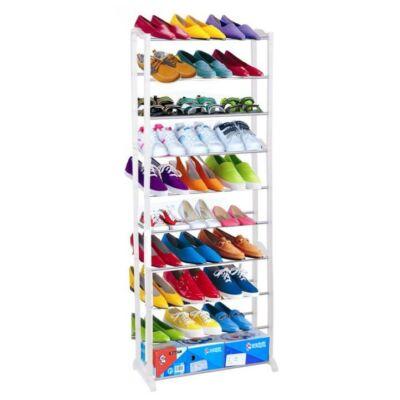 10-soros cipőpolc, műanyag+fém, fehér, BOTIS 2 TÍPUS