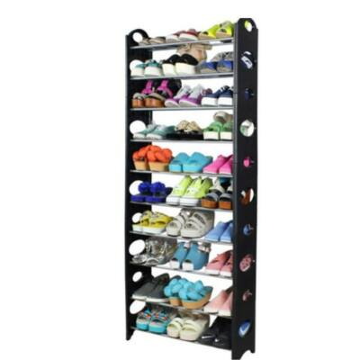 BOTIS 5 TÍPUS 10-soros cipőpolc, műanyag+fém, szürke/fekete