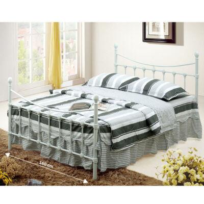 Fém ágy lécezett ráccsal, fém (fehér), 160x200, NIEVES